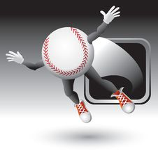 Baseball Character Flying Out Of Silver Frame Stock Photography