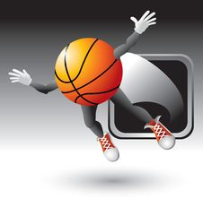 Free Basketball Character Popping Out Of Silver Frame Stock Images - 8993684