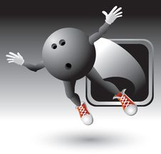 Free Silver Framed Flying Bowling Ball Character Royalty Free Stock Photos - 8993688