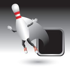 Free Silver Framed Flying Bowling Pin Character Stock Photo - 8993690