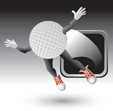 Silver Framed Flying Golf Ball Character Royalty Free Stock Photo