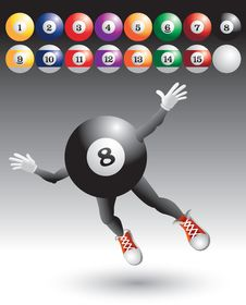Free Flying Eight Ball Character With Billiard Balls Royalty Free Stock Photo - 8993715