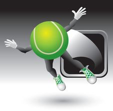 Free Tennis Ball Cartoon Character Flying Out Of Frame Stock Photography - 8993722