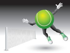 Free Flying To Net Tennis Ball Character Stock Image - 8993731