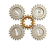 Free 3D. Gear And Currency Symbols Stock Photo - 8994310
