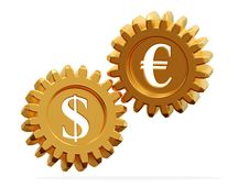 3D. Gear And Currency Symbols Royalty Free Stock Image