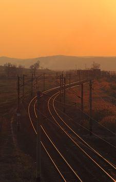 Railway Sunset Stock Photo