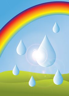 Free Rainbow And Drops Stock Image - 8996471
