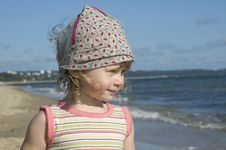 Sweet Girl On The Beach Stock Images