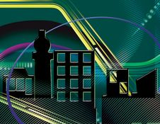 Blue Green Cityscape Abstract Stock Image