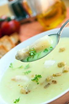 Soup Of Asparagus And Croutons, Close Up Royalty Free Stock Photos