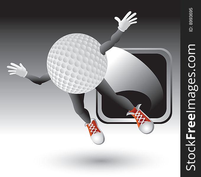 Silver framed flying golf ball character