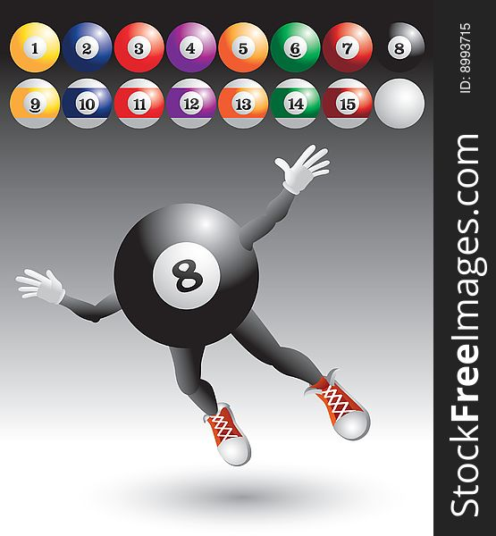 Flying eight ball character with billiard balls