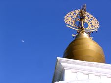 Free Peace Pagoda Dome With Moon Stock Photography - 94692