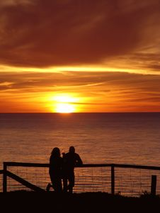 Free Couple Enjoying Sunset Royalty Free Stock Images - 95139