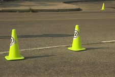 Construction Cones On Information Highway Stock Photo