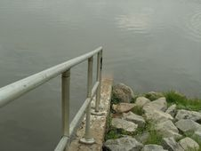 Guardrail And Reservoir Stock Photo