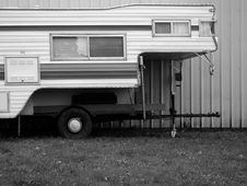 Free Mobile Home Or Camper In Black And White Royalty Free Stock Photo - 903725
