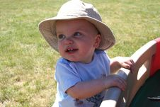 Free Little Boy Hanging Onto Wagon Royalty Free Stock Photography - 903727