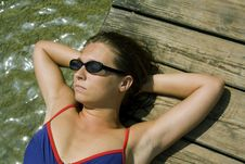 Woman Basking In The Sun Royalty Free Stock Photo