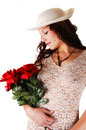Free Woman With Hat And Red Roses. Royalty Free Stock Photo - 9004965