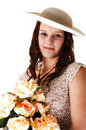 Free Woman With Hat And Roses. Stock Images - 9004974