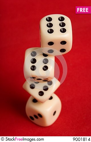 Dice cup and dice Stock Photo