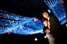 Couple At Night Stock Photo