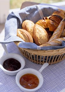 Bread On A Wattled Tray Royalty Free Stock Images