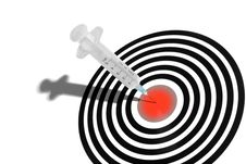 Syringe In A Dartboard Stock Images