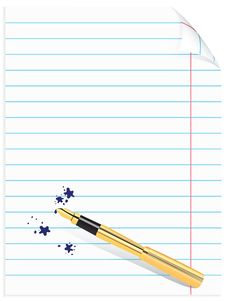 Free Page Of Notebook With Pen And Blots Stock Photography - 9001932