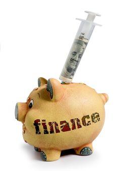 Piggy Bank - Financial Crisis Stock Image