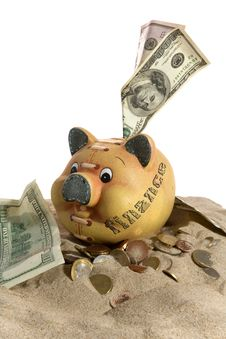 Piggy Bank - Financial Crisis Royalty Free Stock Image