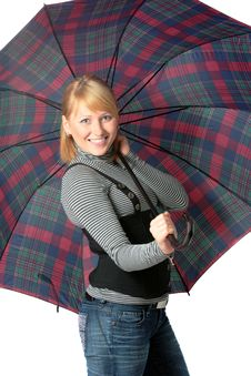 Free Happy Girl With Umbrella Stock Photography - 9002342