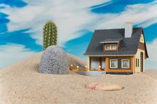 Free House On Sand. Stock Images - 9003604