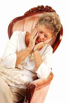Worried Senior Woman. Royalty Free Stock Photos