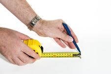 Measurement With Measuring Tape Royalty Free Stock Photo