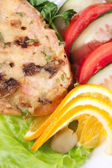 Backed Meat With Salad And Lemon Royalty Free Stock Photos