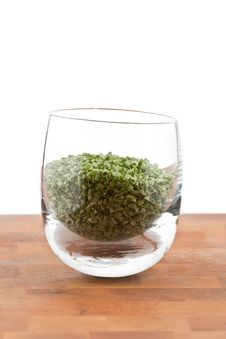 Free Dried Chive In Glass On Wooden Table Stock Images - 9009844
