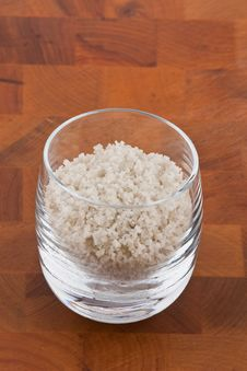 Free Coarse Grey Sea Salt In Glass Stock Photos - 9009953