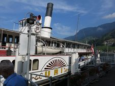 Free Travelling On The Lake Lucerne Aboard The Steam Ship DS Uri Stock Photo - 90032560
