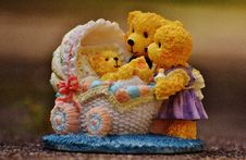 Free Teddy Bears Watching Over Baby Teddy Bear Figurine Stock Photography - 90034072