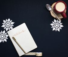 Free Notebook Coffee And Snowflakes Royalty Free Stock Photography - 90037297