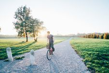 Free Man Cycling In Countryside Royalty Free Stock Photography - 90098097