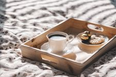 Free Serving Tray With Coffee And Sweets Stock Photography - 90098722