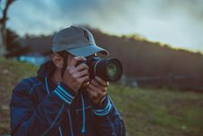 Free Man With Camera Outdoors Royalty Free Stock Photo - 90098815