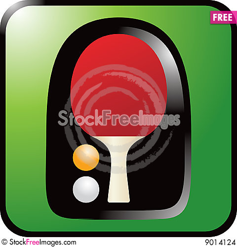 Ping pong paddle on green background Stock Photo