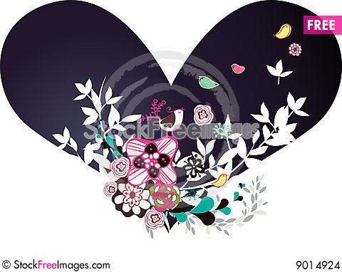 Flora love shape card Stock Photo