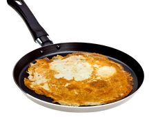 Free Pancake Cooking In A Pan Isolated On White Royalty Free Stock Image - 9010096