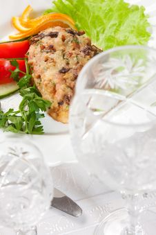 Backed Meat With Salad With Goblet Stock Photo